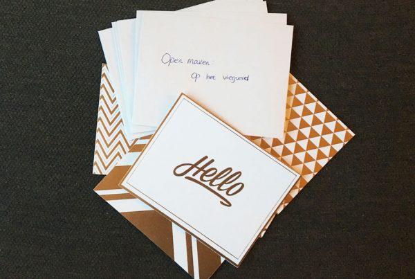 reispakket kaartjes met envelop