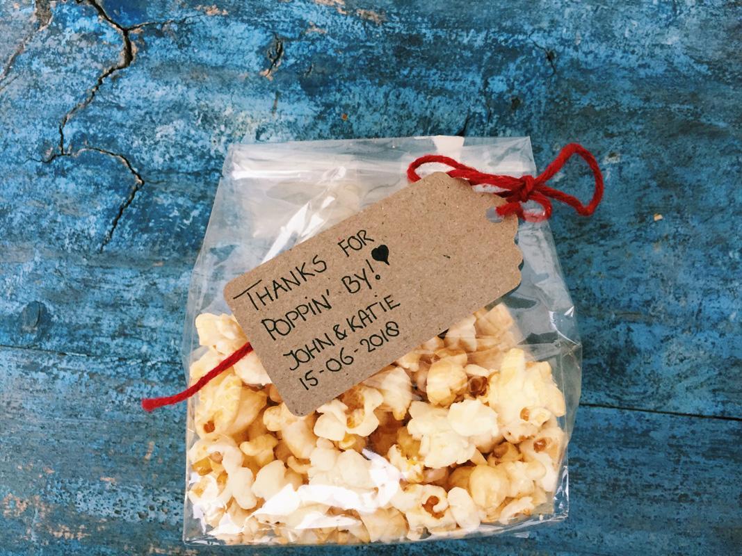 popcorn huwelijksbedankje trouwbedankje