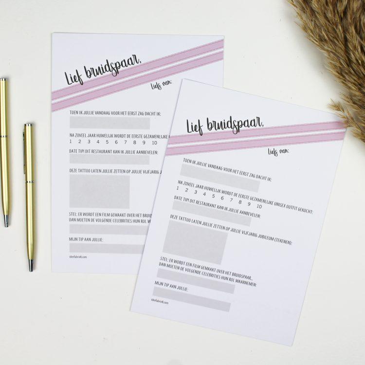 bruiloft gastenboek voorspelling ideefabriek trouwen origineel