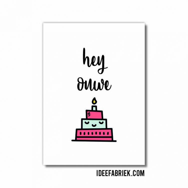 wenskaart ideefabriek verjaardag ouwe taart