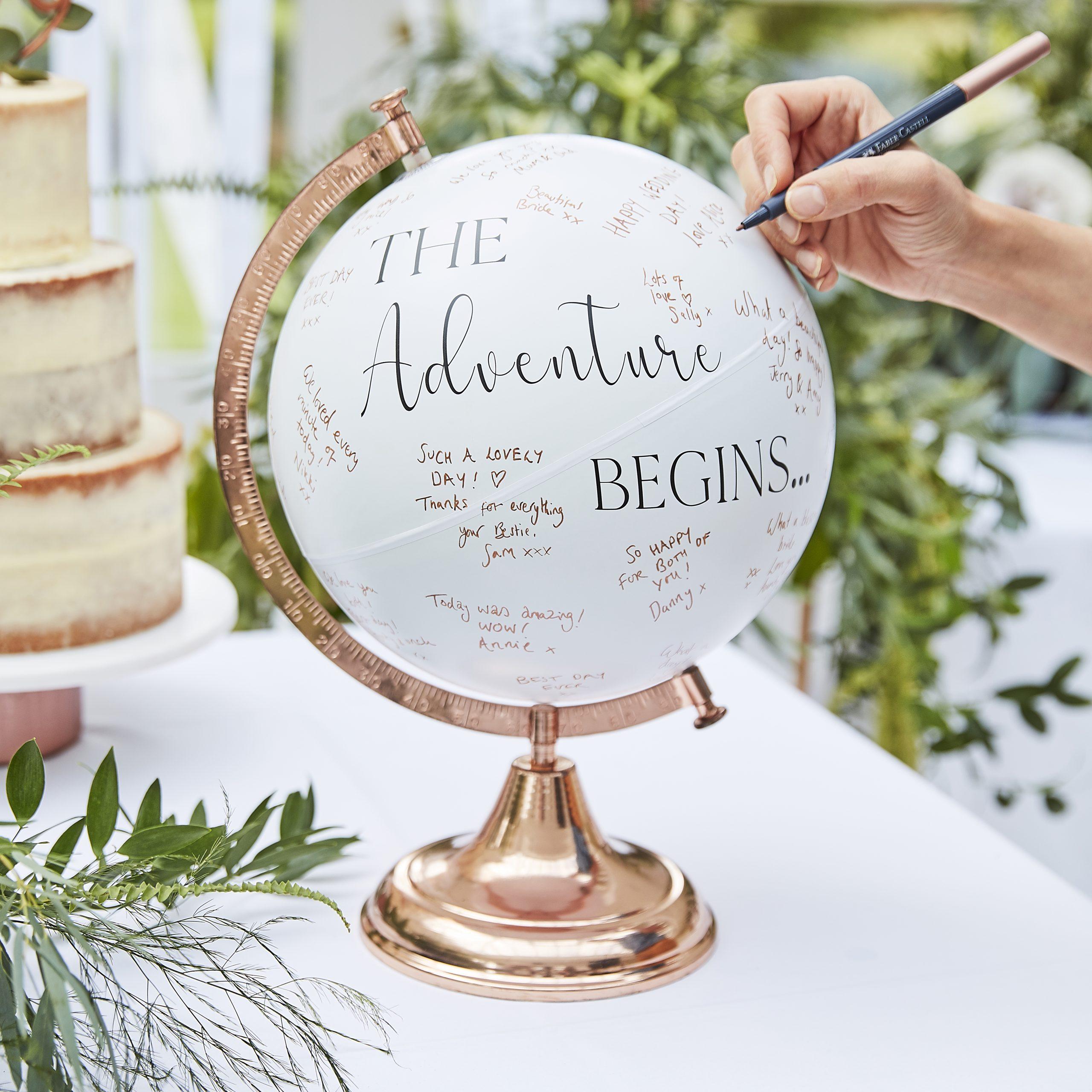 Wereldbol bruiloft alternatief origineel gastenboek ideefabriek