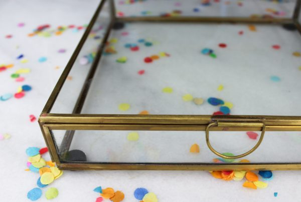 Fotobox ideefabriek cadeau cadeaubox glazen box goud 20 x 20 voorbeeld