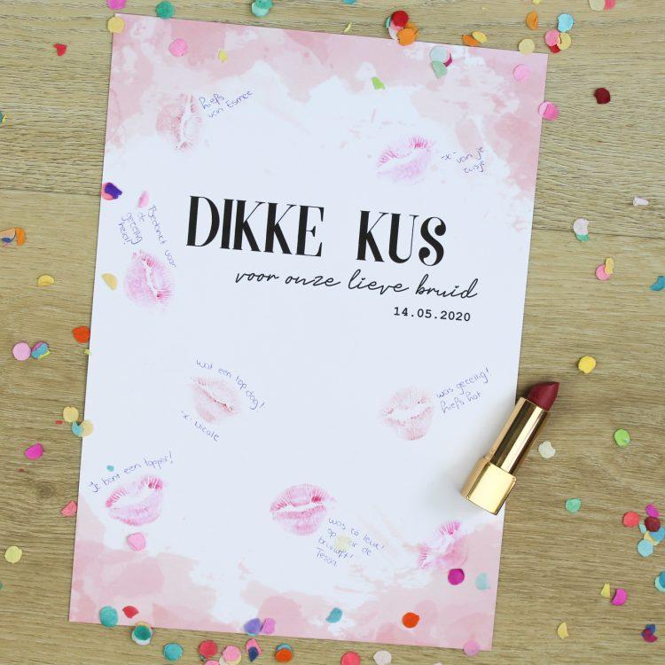 Printable - Ideefabriek vrijgezellenfeest dikke kus voor de bruid bruiloft