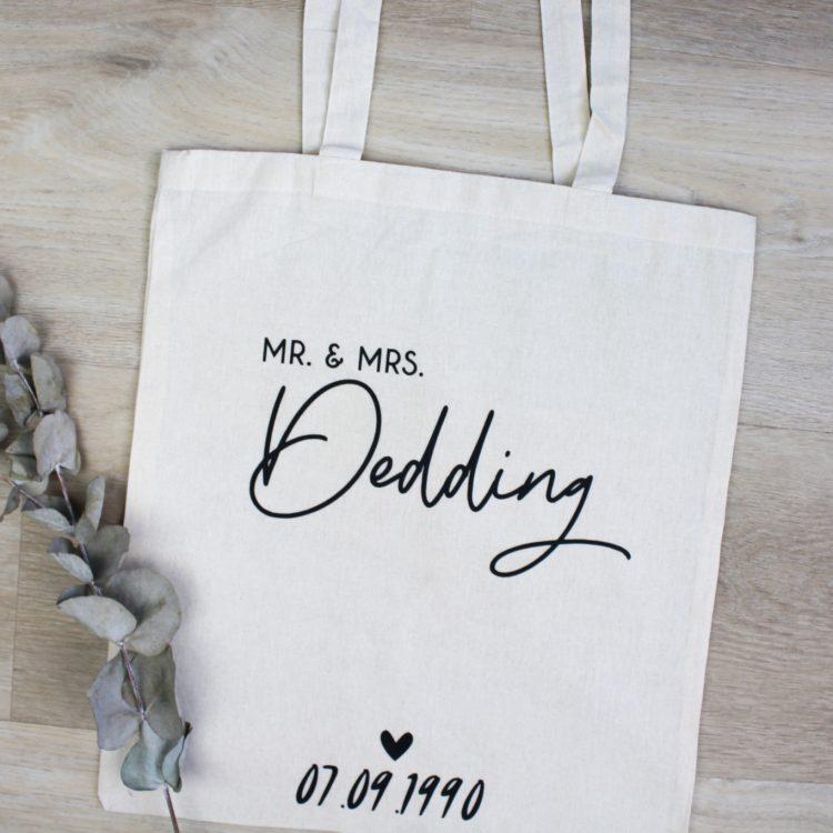 katoenen tas huwelijkscadeau tote bag ideefabriek bruiloft mr mrs personaliseren creme