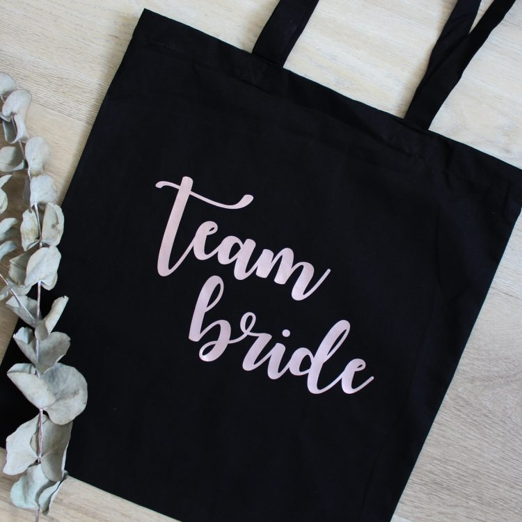 katoenen tas tote bag team bride vrijgezellenfeest ideefabriek personaliseren
