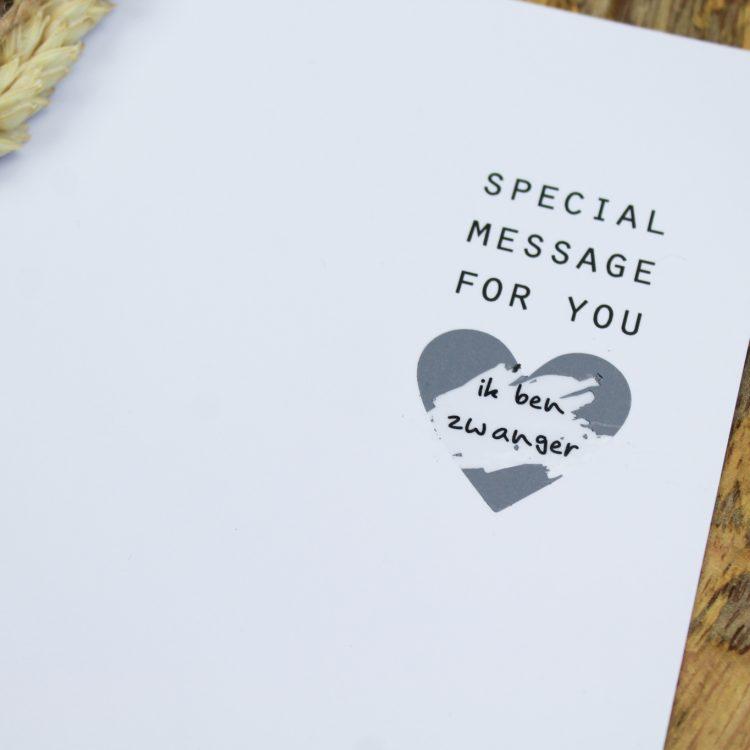 kraskaart ik ben zwanger zwangerschapsaankondiging special message zilver ideefabriek