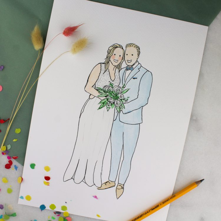 persoonlijke illustratie bruidspaar ideefabriek voorbeeld
