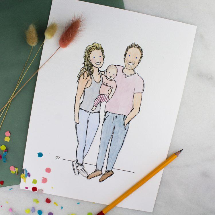 poster illustratie ideefabriek stel cadeau gezin custom made voorbeeld
