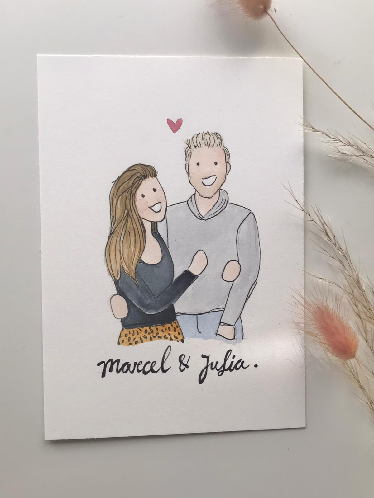 persoonlijke illustratie valentijn cadeau liefde stel koppel jubileum