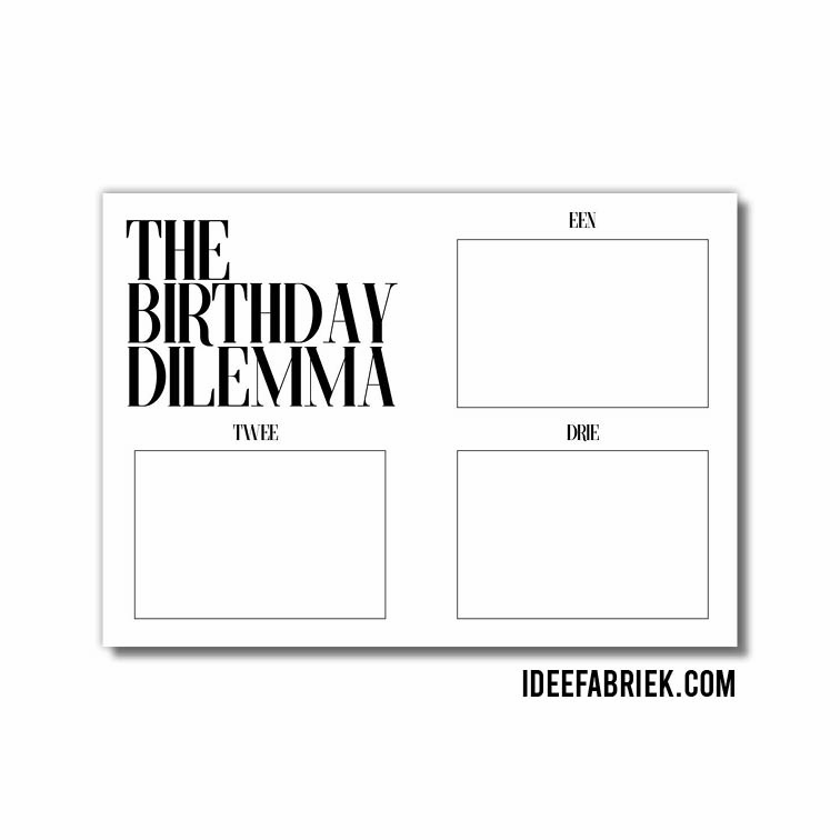 Printable Ideefabriek - The Birthday Dilemma webshop