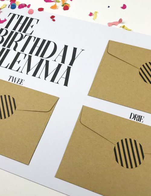 Printable Ideefabriek voorbeeld birthday dilemma cadeau tegoedbonnen diy