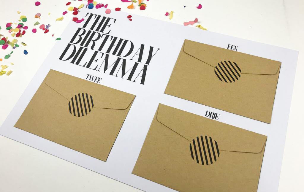 Printable Ideefabriek voorbeeld birthday dilemma cadeau tegoedbonnen diy