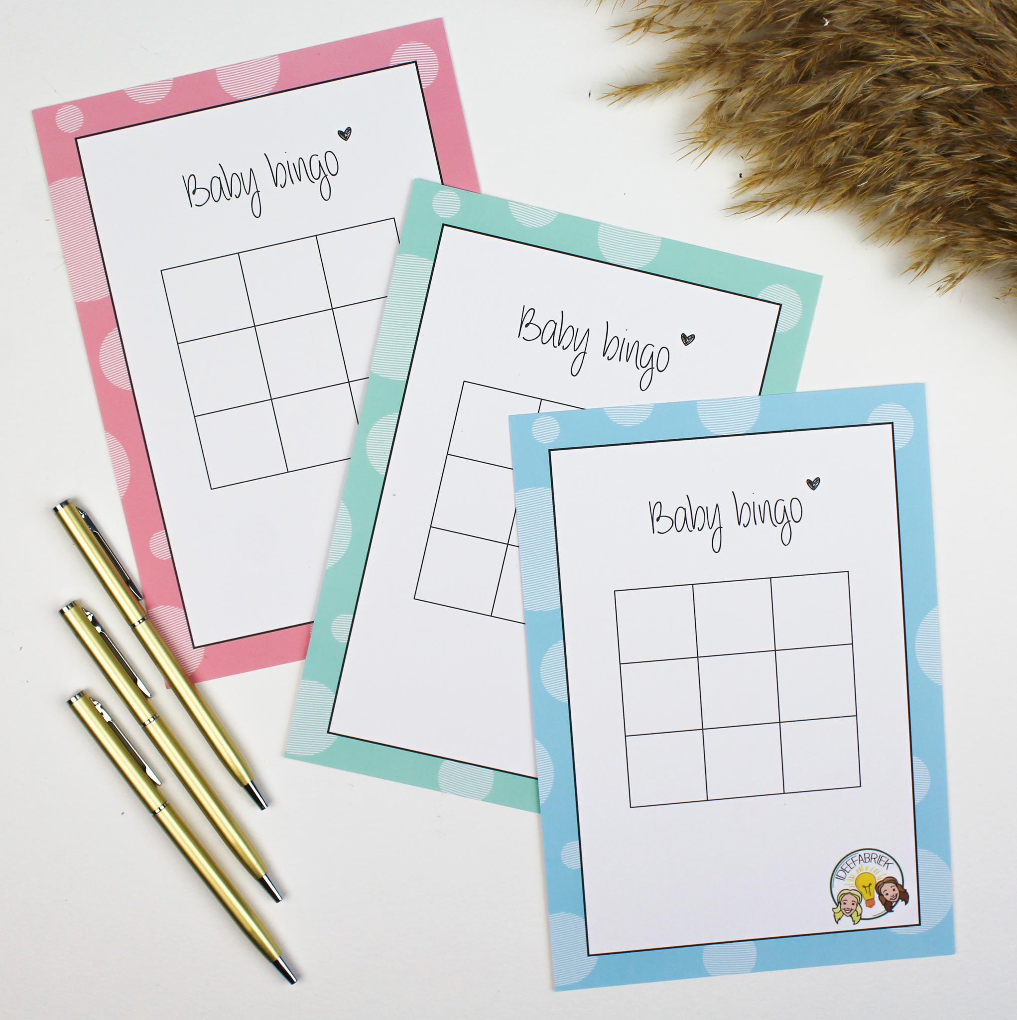baby bingo bingokaarten babyshower ideefabriek zwanger babyshowerspelletje