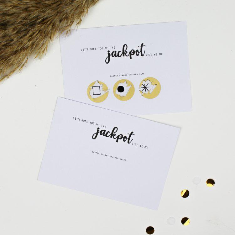 ideefabriek kraskaart jackpot afscheidscadeau bedankcadeau bruiloft huwelijk