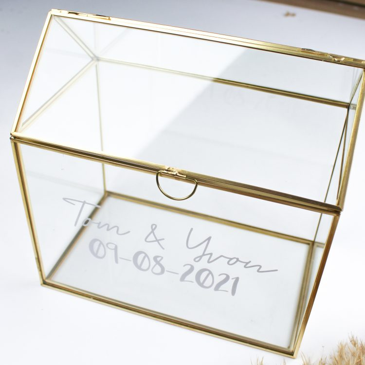 kaartenbox glazen huis ideefabriek enveloppenbox enveloppendoos glas goud