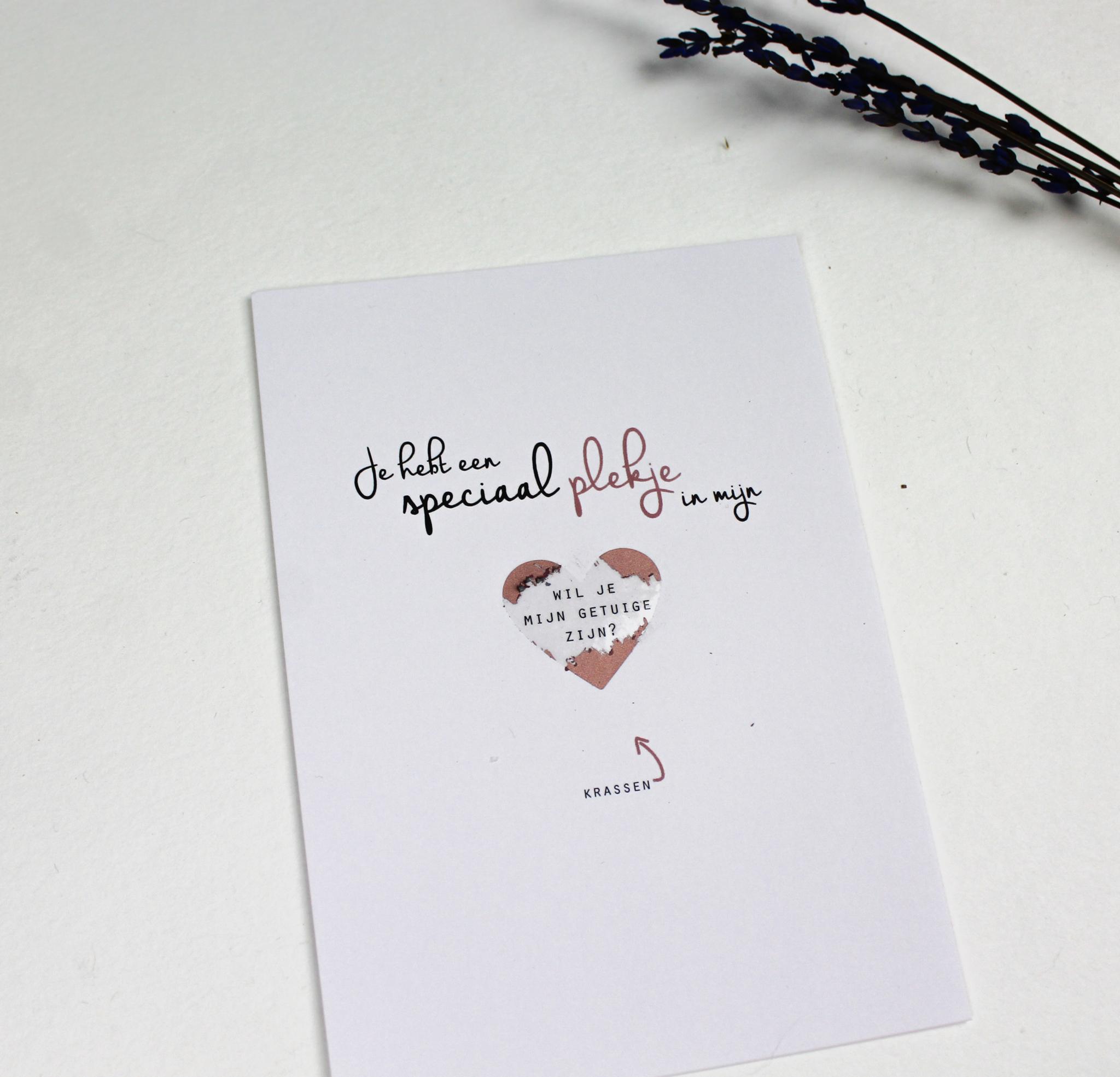 kraskaart getuige vragen bruiloft wil je mijn getuige zijn ideefabriek goud rosegoud zilver