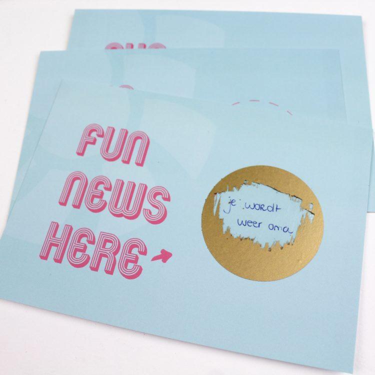 kraskaart kraskaarten fun news here aankondiging zwangerschapsaankondiging ideefabriek voorbeeld