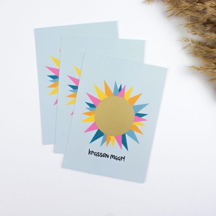 kraskaart kraskaarten ideefabriek krassen maar zon aankondiging cadeau goud