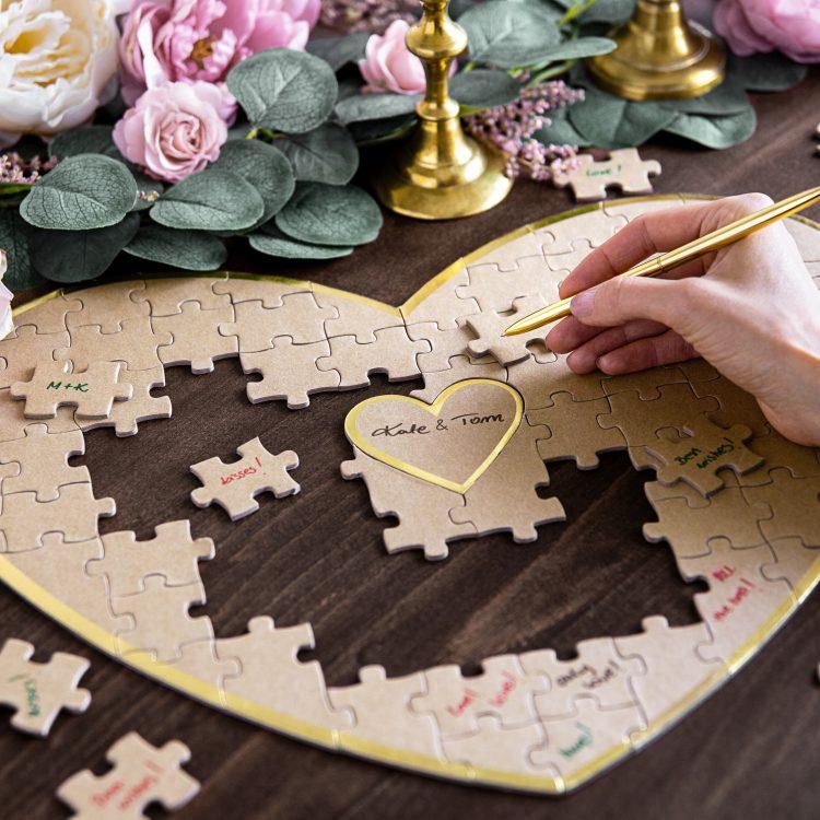 Gastenboek hart puzzel ideefabriek bruiloft babyshower feest
