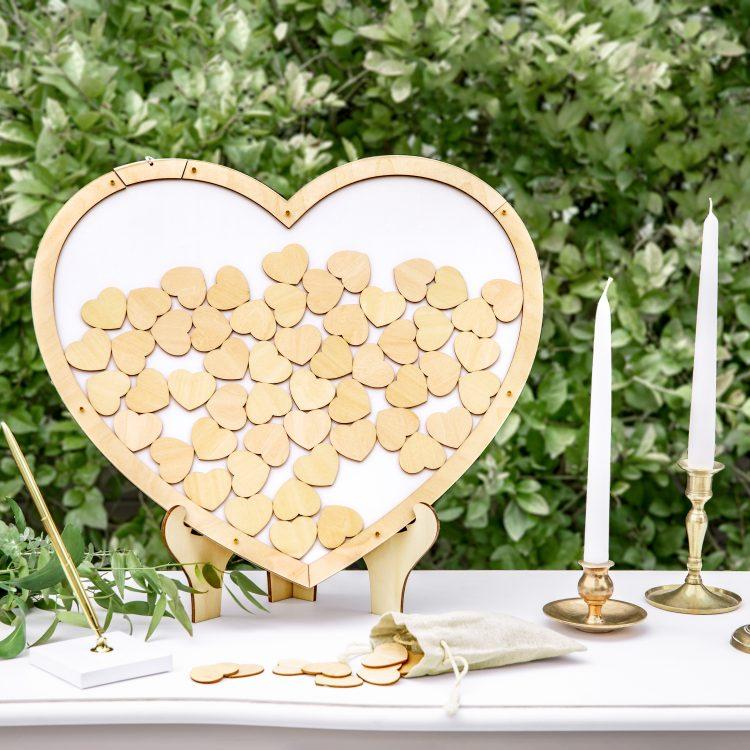 Houten gastenboek - hart ideefabriek bruiloft vrijgezellenfeest babyshower pensioen